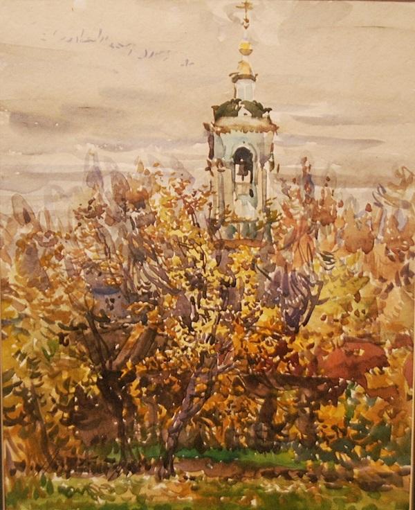 """Михаил Абакумов """"Тихая осень""""  1998 г.  бумага, акварель Собрание семьи художника"""