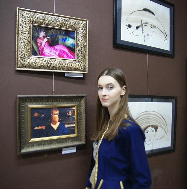 София Загряжская на фоне работы, для которой она послужила моделью