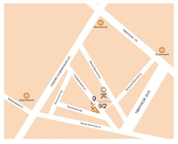 """Карта проезда в галерею """"Открытый клуб""""  на Сперидоновке"""
