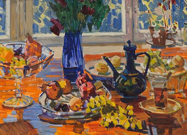 Николай Горлов Натюрморт с виноградом и чайником  Музей Русского импрессионизма