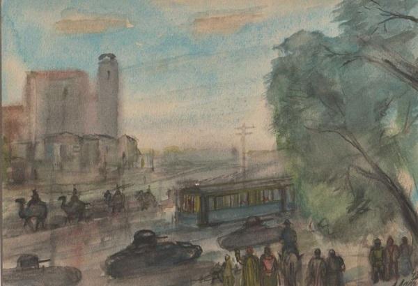"Александр Лабас ""Ташкент. На улице. Верблюды и танки"" 1943 г. бумага, акварель 14,5х21"