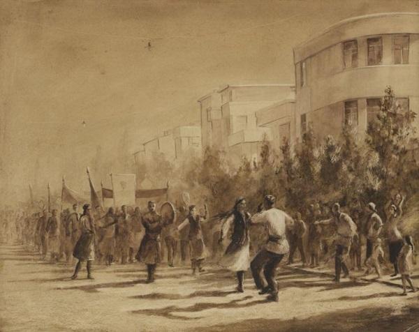 """Вениамин Кедрин """"Первомай в Ташкенте"""" 1949 г.  бумага, акварель 43х51 1949 г."""