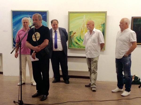 Константин Худяков Председатель ТСХР на открытии персональной выставки  Евгения Окиншевича  в Российской Академии художеств 19 июля 2016 года
