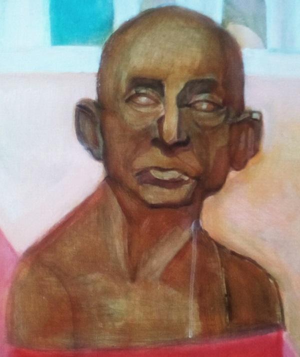 """Маргарита Юркова Портрет Махатмы Ганди (фрагмент картины """"Индия, Любовь Моя"""")"""