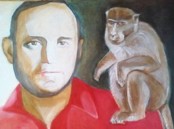 Маргарита Юркова Скульптор Александр Рябичев  с обезьянкой