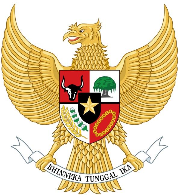 Государственным гербом Индонезии является золотая мифическая птица Гаруда с геральдическим щитом на груди. Оперение Гаруды символизирует 17 августа 1945 года — дату провозглашения Республики Индонезии: 19 перьев в нижней части тела и 45 на шее — 1945 год, 8 перьев в хвосте — месяц август, 17 перьев в каждом из крыльев — 17-е число. В когтях Гаруда держит серебряную ленту с национальным девизом, написанным чёрными прописными литерами на старояванском языке, — «Единство в многообразии».