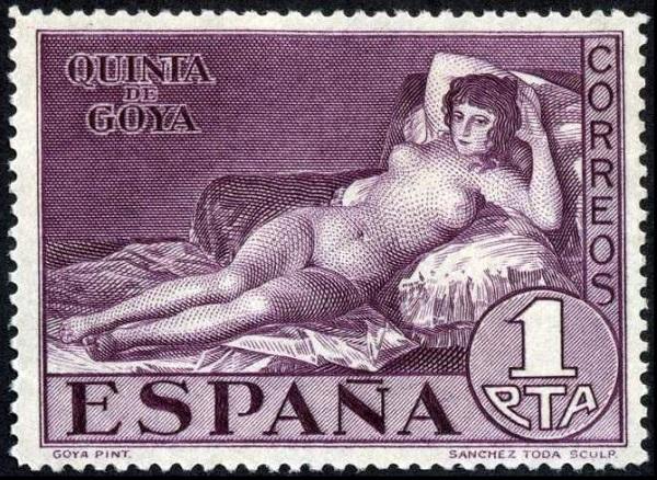 """Почтовая марка Испании, картина Франсиско де Гойя """"Маха обнажённая"""", 1930 год, 1 песета."""