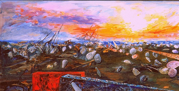 """Виктор Орловский """"Пейзаж безвременья"""" (фрагмент) 1998-2002 гг..  холст, масло"""