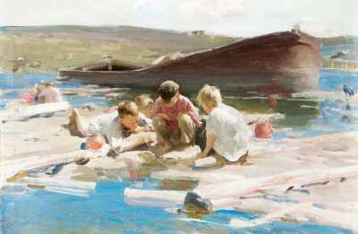 "Абрам Архипов ""Мальчики на реке"" 1898 г.   АВА Gallery, Нью-Йорк"
