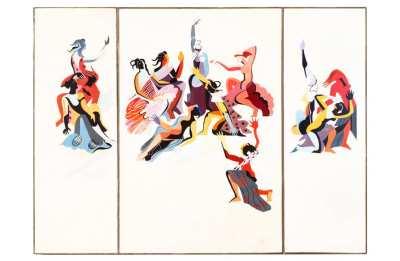 Александра Экстер Триптих доска, масло АВА Gallery, Нью-Йорк