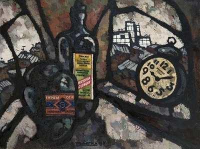"""Оскар Рабин """"Будильник"""" 1966 г.  холст, масло 60х80 АВА Gallery, Нью-Йорк"""