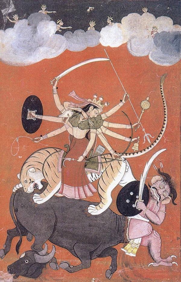 Сражение Дурги и Махиши Индуистская графика  до 18 века