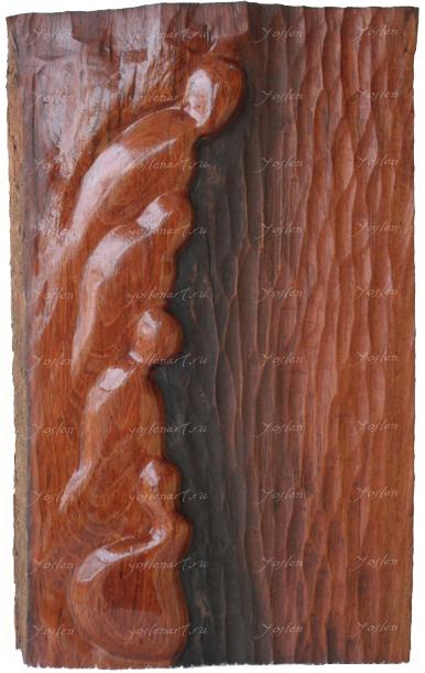 """Йослен Арриохас Орсини """"Рассветы"""" барельеф, дерево, 26,5x17x4,5   2009 г."""