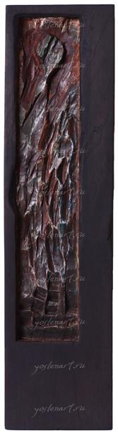 """Йослен Арриохас Орсини """"Родные души"""" барельеф, дерево  20x13,5x2   2010 г."""