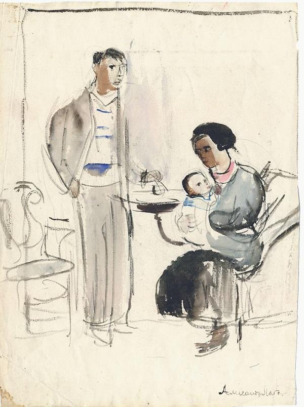 Александр Лабас Автопортрет с семьей 1933 г.  бумага, акварель Собрание семьи художника