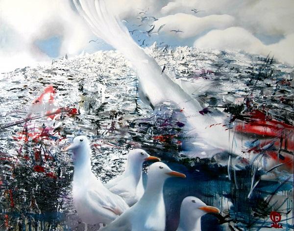 "Картина Ольги Гречиной  ""Чайки""  холст, масло  80х120"