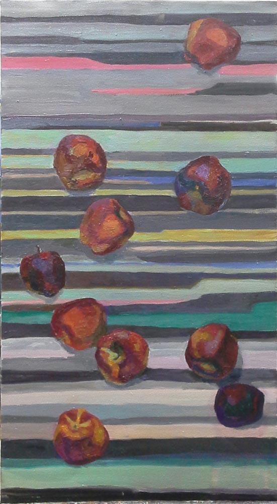 Яблоки на полосатой драпировке_1000_ Яна Поклад