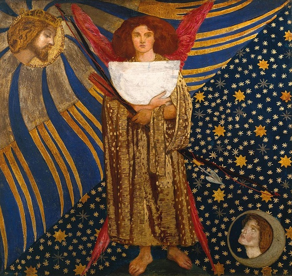 "Данте Габриэль Россетти ""Любовь Данте"" дерево, масло 74,9 × 81,3  Галерея Тейт, Лондон Dante Gabriel Rossetti ""Dantis Amor"""