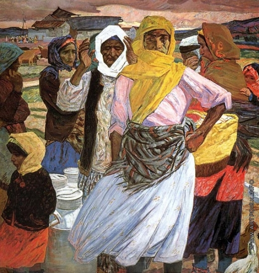 "Микаил Абдуллаев  ""Июнь, 1941""  часть триптиха 1966 г.  холст, масло  Национальный музей искусств Азейрбайджана  им.Р. Мустафаева"