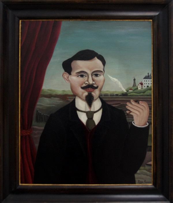 """Анри Руссо  (1844-1910 гг..) Мужской портрет. """"Пейзаж с белым домом""""  1896 г.  холст, масло  ММСИ"""