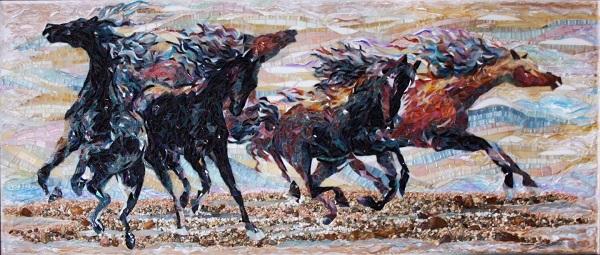 """Александра Мишель  """"Стихия"""" 56х120  стеклянная мозаика, речная, морчкая галька, мраморная крошка, смешанная техника  2012 г."""