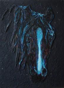 """Александра Мишель  """"Синий конь""""  60х45см  стеклянная мозаика, смешанная техника 2016 г."""