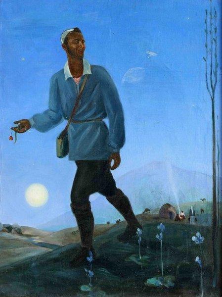 """Алексей Подковыров (1899–1957)  """"Голубой вечер в горах"""" Автопортрет 1935 г.  холст, масло"""