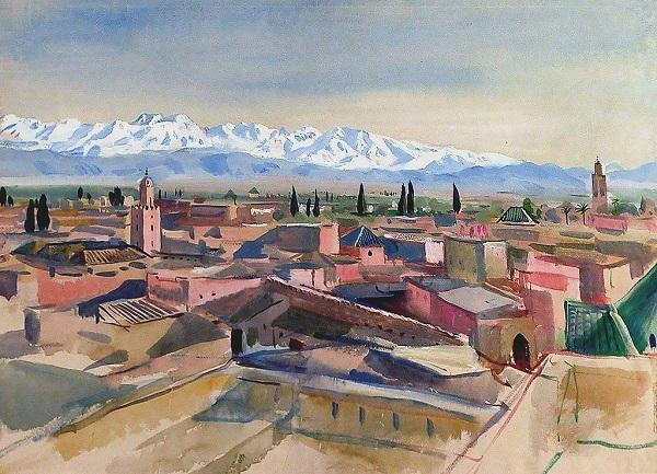 """Зинаида Серебрякова  """"Вид с террасы на горы Атласа""""  Марракеш, 1928 г.  Калужский музей изобразительных искусств"""