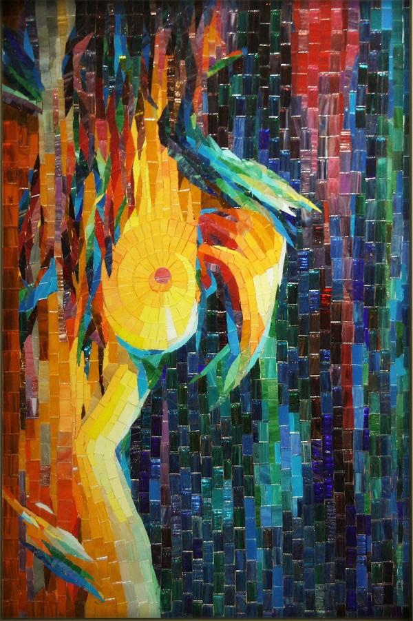 """Александра Мишель  """"Соблазн""""  60х42  стеклянная мозаика, авторская техника  2016 г."""