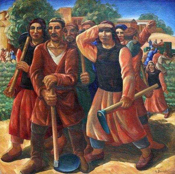 "Александр Волков  (1886–1957)  ""Выход бригады в поле""  1932–1934 гг.. холст, масло"
