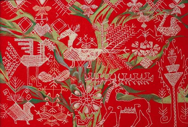 """Вера Занегина  """"Райский сад""""  серия """"Говорящие картинки"""" текстильное панно  80х102 2016 г."""