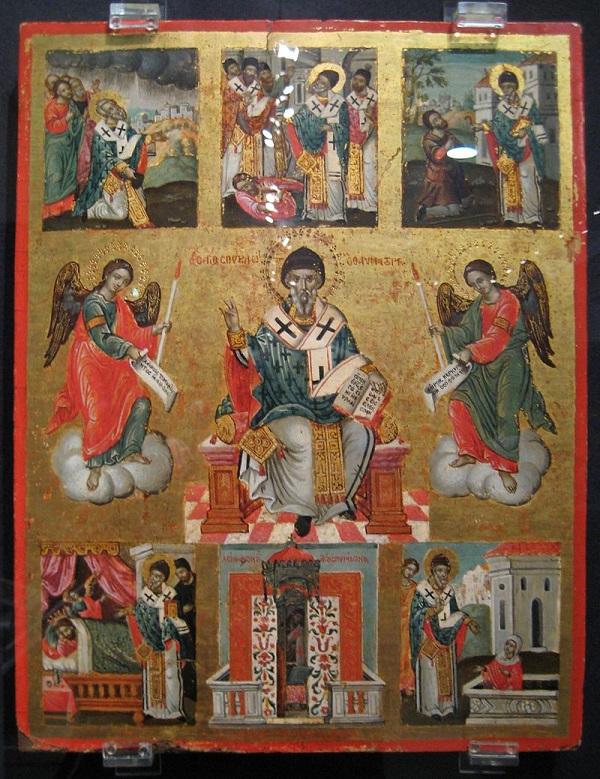 Греческая икона с изображением сцен из жизни Святителя Спиридона Тримифунтского Чудотворца