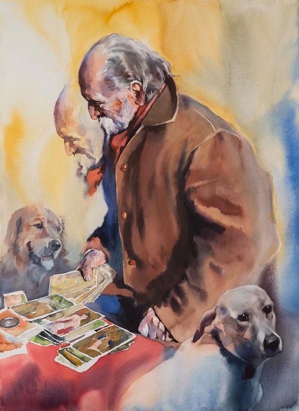 Андрей Есионов «Аутентификация» 2017 г.  бум. акв.  76х56  «Authentication» 2017 Watercolor 76 x 56