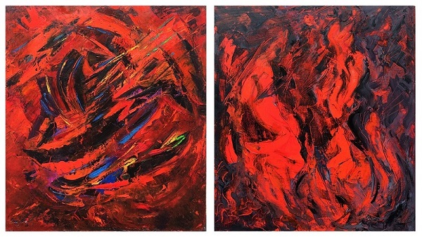 """Александр.Волков  """"Красное и черное""""_ (диптих)  2015 г.  холст, масло   100х180"""