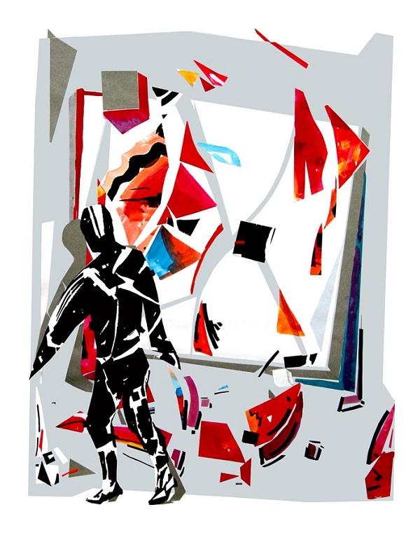 "Александр.Волков.  ""Фламенко Малевич"" 1996 г.  бумага, гуашь, тушь,  коллаж 63х50"