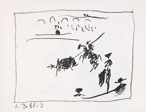 """Пабло Пикассо. """"Игра плаща""""  Литография (С) Altmans Gallery: """"Бой быков всегда присутствовал в творчестве Пикассо не только потому, что он был пылким поклонником (он часто посещал корриды в Арле на юге Франции), но также потому, что Пикассо использовал корриду как метафору животной страсти, управляющей поведением людей, в том числе его самого. Для Пикассо, который часто изображал себя быком или минотавром, коррида была очень эротичным ритуалом."""""""