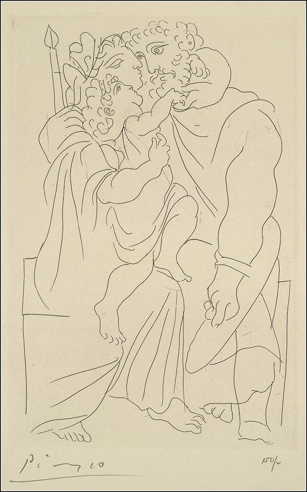 """Пабло Пикассо, вдохновленный классической пьессой Аристофана """"Лисистрата"""", создал удивительные, элегантные и полные чувственности работы. На выставке, которая начнет свою работу 28 сентября, можно будет не только познакомиться с серией """"Лисистрата"""" и творчеством Пабло Пикассо, но и приобрести его работы.   Техника представленной работы Пабло Пикассо """"Пара с ребенком"""" - офорт. В галерее Altmans Gallery всегда есть консультанты, которые с удовольствием расскажут о любой из работ подробнее."""