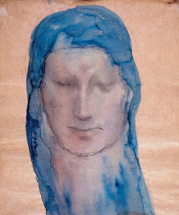 Халиль Джебран  Портрет женщины с голубой вуалью  1909 г.