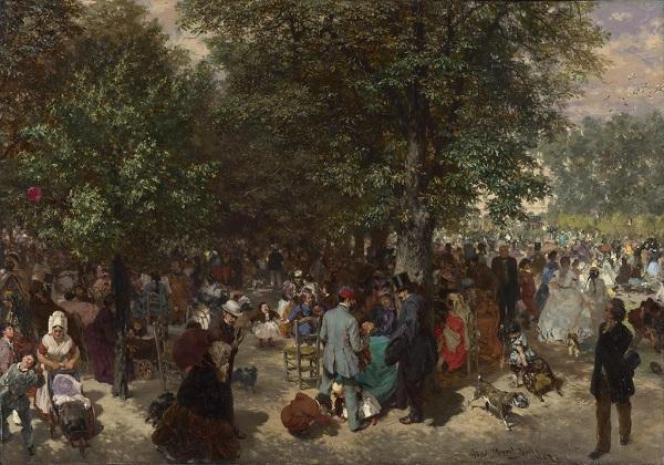 """Адольф Менцель  """"Полдень в саду Тюильри"""" 1867 г."""