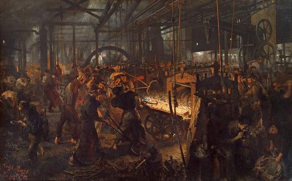 """Адольф фон Менцел """"Железопрокатный завод"""" 1872 г."""