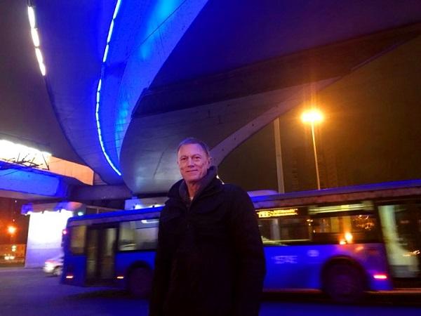 Пит Килкенни и синий троллейбус Москва, ноябрь 2017