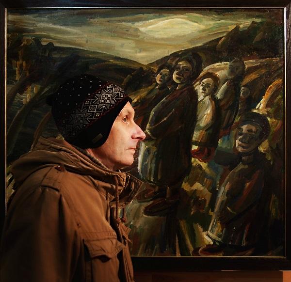 Юрий Петкевич художник, писатель, сценарист на фоне своей работы