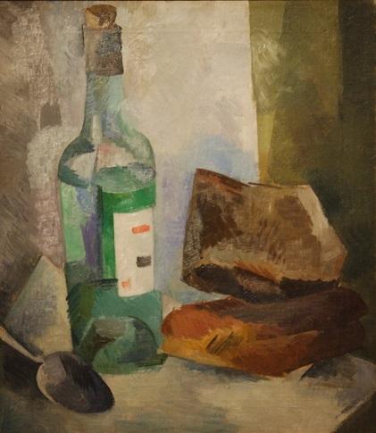 """Роберт Фальк """"Натюрморт с бутылкой и хлебом"""" 1917"""
