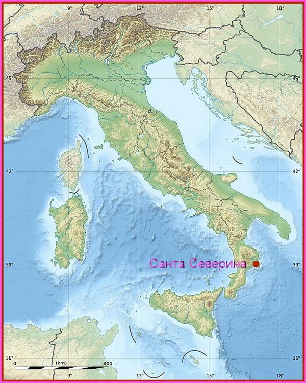Санта-Северина  на карте Италии