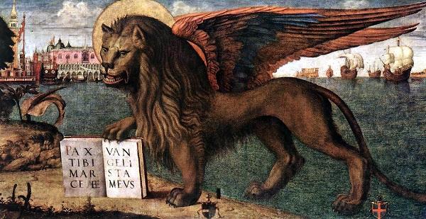 Лев святого Марка на картине Витторе Карпаччо Венеция. Палаццо дожей