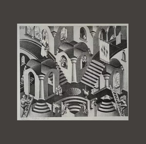 """Графика Мориса Эшера """"Выпуклое и вогнутое"""" 1955 г."""