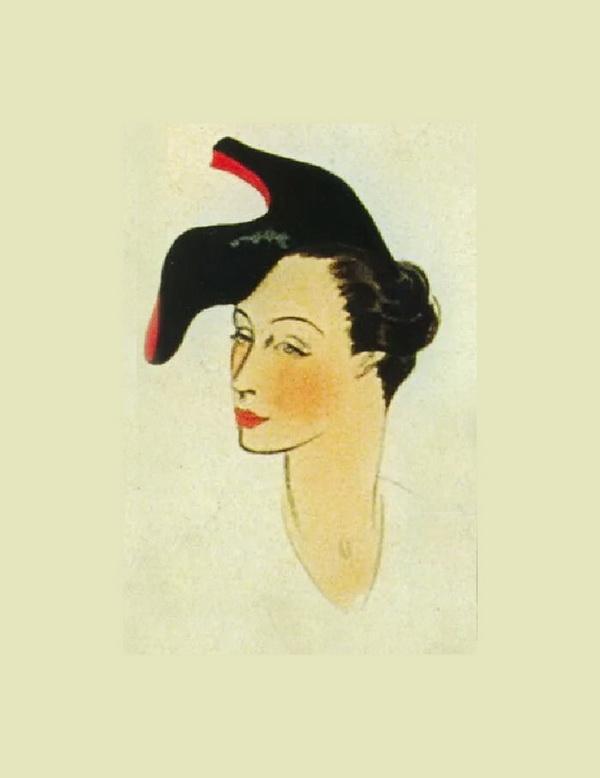 Эскиз Шляпки-туфельки  Знаменитые сюрреалистические модели Эльзы Скиапарелли