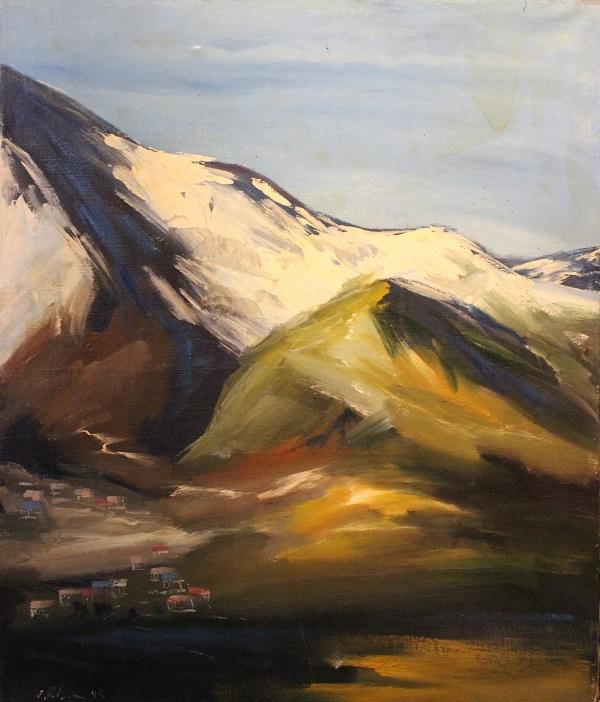 Анзор Чхаидзе  Кавказские горы  холст, масло  101х80 1992 г.  часть триптиха
