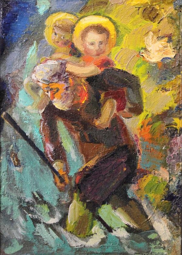 Афтандил Попиашвили  Старик и ангелы  1992  г.  холст, масло