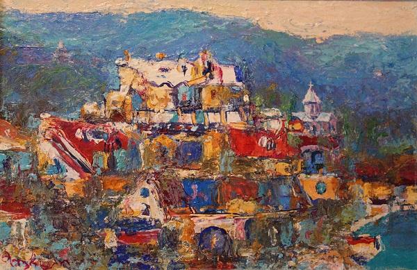 Зураб Пачулия  Горный пейзаж. Грузия  картон, масло, темпера 1991 г.   20х30